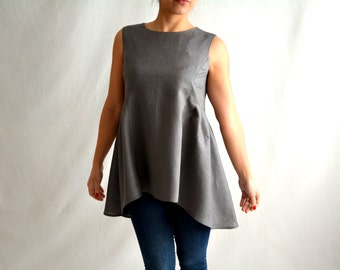 Womens linen tunic, linen tunic, grey tunic, oversized tunic, womens tunic, tunic tops, womens clothing, maternity clothes, grey shirt