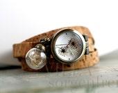 Real DANDELION & CORK STRAP Watch. Dandelion watch face and real dandelion seeds. Cork watch strap. Eco-friendly. Gift for her.