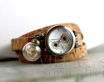 Real DANDELION & CORK STRAP Watch. Dandelion watch face and real dandelion seeds. Cork watch strap. Eco-friendly. Gift for her.