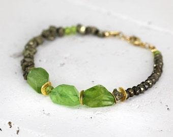 Raw Peridot Bracelet - August Birthstone Jewellery - Raw Stone Jewelry - Green Gemstone Bracelet - Chunky Bracelet For Women