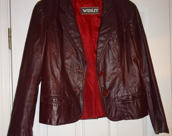 Vintage Oxblood Leather Jacket Winlit Wine Burgundy Women's Leather Blazer Jacket
