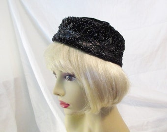 Vintage Hat/1960's Black/Pillbox/Bead Trim/Marge Hats Label