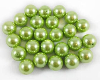 8 Beads - 16mm Large Mint Green Glass Pearl Beads, large gumball beads.