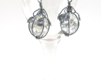 Hematite Wire Wrapped Fried Marble Earrings, Sparkly, Long Spiral
