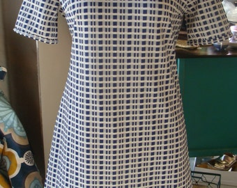 NAVY and WHITE shift DRESS vintage 1960's 1970's mad men S