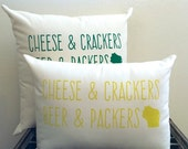 Green Bay Packers - G. YELLOW WI Motto Pillow/ Packer Pillow, Cheese and Crackers, Cheesehead, Wisconsin, Beer, Gift for him, Gift for her