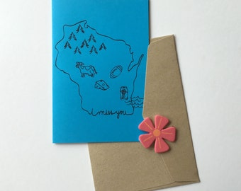 Greeting card - Mini Card, Wisconsin, Miss You, Thinking of You, Fall