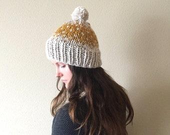 Chunky Knit Beanie Hat with Pom-Pom, Fair Isle Polka Dots | Mustard & Cream | Wool Yarn