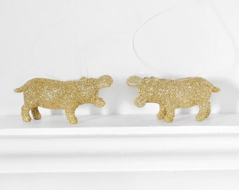 Miniature Hippo Ornaments in Gold Glitter. Safari Animal Gift Set of 2. Home Decor, Party Favors, Christmas Decoration, Stocking Stuffer