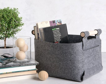 Storage Basket  - Magazine Holder - Felt Bin - Felt Storage Box - Minimalist Home Decor , SB-01