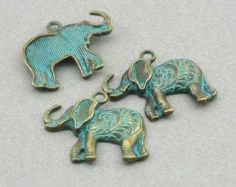 Green Patina Elephant Charms 4pcs pendant beads 22X25mm CM1006BR
