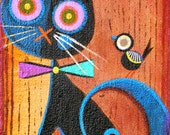 Harlequin FRaiDy Cat Halloween original painting (#2) 5x7 inch by Melissa Belanger EHAG