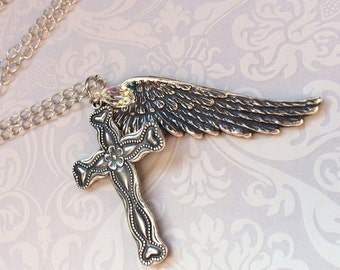 Wing Cross Necklace, Silver Angel Wing Jewelry, Silver Cross Necklace, Faith Necklace, GORGEOUS PENDANT Necklace w/SWAROVSKI Crystal Gift