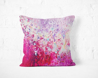 Pink Throw Pillow - Pink and White Abstract Decorative Pillow  Designed by Louise Mead Available in Two Sizes