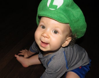 Super Mario Brothers Inspired-INFANT or TODDLER Fleece LUIGI Hat