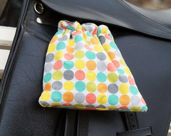 Ready to Ship - Rainbow Circle Dots with Turquoise Reversible Stirrup Covers