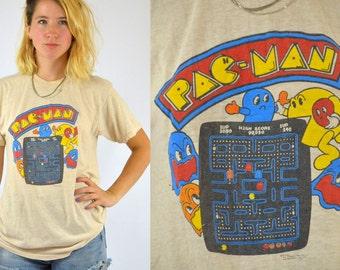 80s PAC MAN Nickel Arcade Mr. Pac Man And Ghost Whiz Kids T Shirt