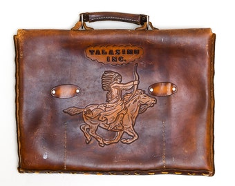 1950s Tooled Native American Indian Warrior Thick Leather Handabag Briefcase Messenger Bag