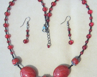 Red Rapture Acrylic, Glass, Metal Necklace w/Earrings, Red and Black Jewelry, Necklace Set, Handmade Beaded Jewelry, Gunmetal & Red Jewelry