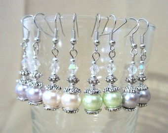 Pastel Pearl & Crystal Dangle Wedding Earrings, Handmade Original Fashion Jewelry, Elegant Classic Feminine Bride or Bridesmaid Earrings
