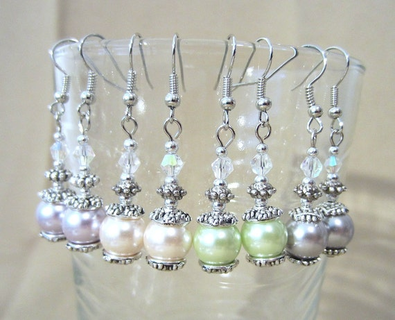 Pastel Pearl Silver Bead & Iridescent Crystal Earrings, Simple Pearl Wedding Jewelry, Wedding Earrings Beaded Handmade Bridesmaid Earrings