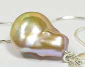 Pearl Necklace Baroque Pearl Large Pearl Pendant Birthstone July  Gift for Her