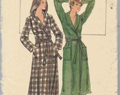Womens Bathrobe Pattern, Misses Robe Pattern, Pattern for Long Robe with Shawl Collar and Pockets, Traditional Robe, Size 12, Bust 34 Inches