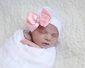 SALE*Satin Bow with Rhinestone newborn hospital hat by Infanteenie Beenie  Baby girl newborn hospital hat.   Baby girl hat.  Newborn bow hat