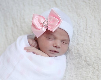 SALE*Satin Bow with Rhinestone newborn hospital hat by Infanteenie Beenie with a PINK/WHITE hat