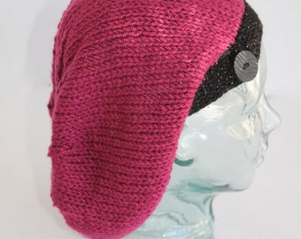 Knit Slouchy  Hat - Adult Hat - Raspberry Tweed and Black Speckle Accents