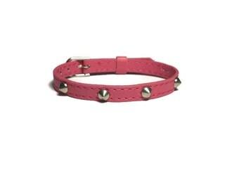 Hot Pink Spike Studded Bracelet -  Hot Pink Studded Wristband - Hot Pink Buckle Bracelet