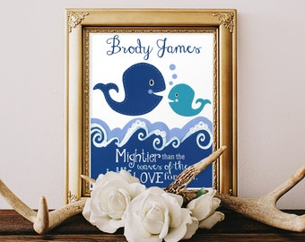 PERSONALIZED BAPTISM GIFTS, Baby Boys dedication, children's Bible verse, Christening day, Godparents, Nautical decor, 8x10 kids art Print