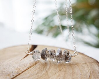 Tiny Crystal Quartz necklace / Natural stone / Herkimer diamond / Sterling Silver / Dainty necklace / Bridesmaids gift / Gift for her