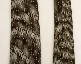 Vintage 1950s 60s Brown, Ivory and Gold Silk Skinny Necktie Tie A. Sulka & Co Paris