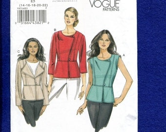 Vogue 8714 Modern Urban Chic Tops with Narrow Peplum Size 14 to 22 UNCUT