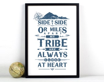 My Tribe Print, Tribe Quote, Friendship Quote, Family Quote, Friend Gift, Long Distance, Friend Print, Leaving Gift, Travel, Tribal Print