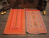 RESERVED FOR AKOSUA  Vintage Embroidered Textile Set Of 2 Tribal  Panel