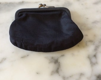 Vintage Black Satin Coin Purse