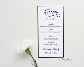 Elegant Wedding Reception Menus, Reception Menus with Calligraphy Writing, Script Wedding Menus, Dark Blue Wedding Menus, Dinner