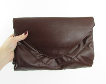 Large Vegan Envelope Purse - Vintage 1980s Brown Convertible Clutch Shoulder Bag by Cabrelli