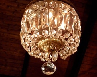 Vintage Chandelier Antique Flush Mount Chandelier Crystal Prisms & Ornate Brass Design a Fab Italian Classic Ready to Shine!