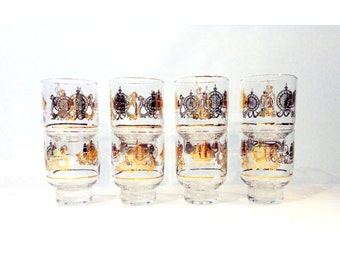 Vintage Gilt Cocktail Glasses, Set of 8, Nautical Theme