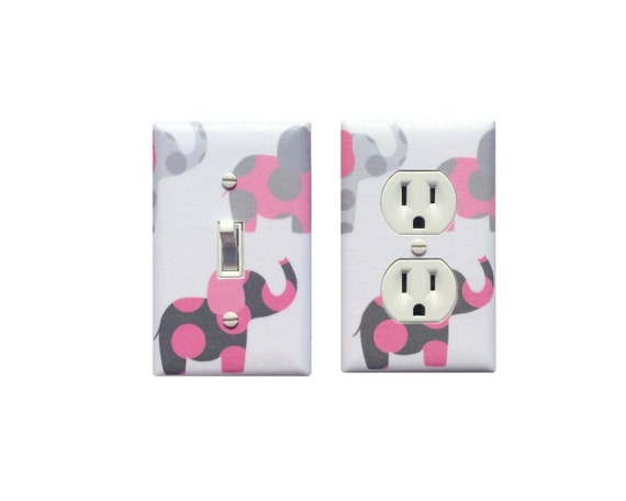 Pink Gray White Elephant Nursery Decor Light Switchplate And
