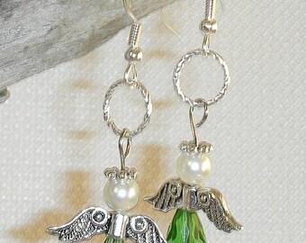 Angel Earrings Green Silver & White Angel Pierced Dangle Earrings faux Creamy Pearls and Tsavorite Garnet Christmas Angels Wear or Give
