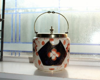 Antique Biscuit Jar Porcelain and Silverplate Cookie Jar Circa Late 1800s