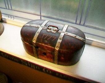 1777 Norwegian Chest Bent Wood Antique Tine Box
