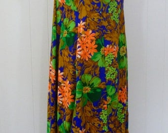 60's Hawaiian Dress Floral Maxi Full Length Watteau Gown Caftan M L