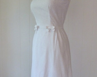 50's White Cotton Bridal Day Dress Bow Waist Woven Jacquard Damask Pure Snow White Wedding Sundress XS