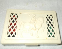 Hickok Trinket Box Knight On Horse Playing Card Box Pierced Jewelry Box Lattice Top Ring Holder Vanity Top Box Cigarette Box