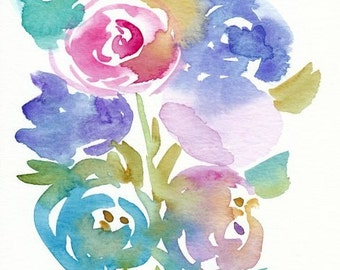 Spring Flowers Painting, Original Watercolor, 5x7, purple, teal, blue, magenta, floral art, abstract flower, nature